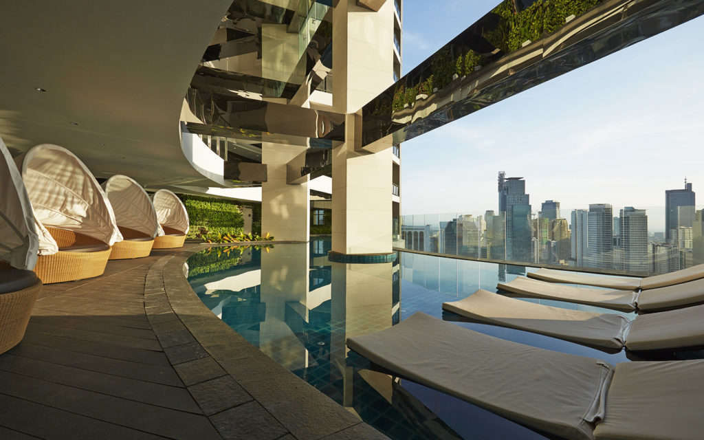 The infinity-edge sky pool at The Gramercy Residences, one of the tallest buildings in the Philippines. Image credit: ZipMatch.com