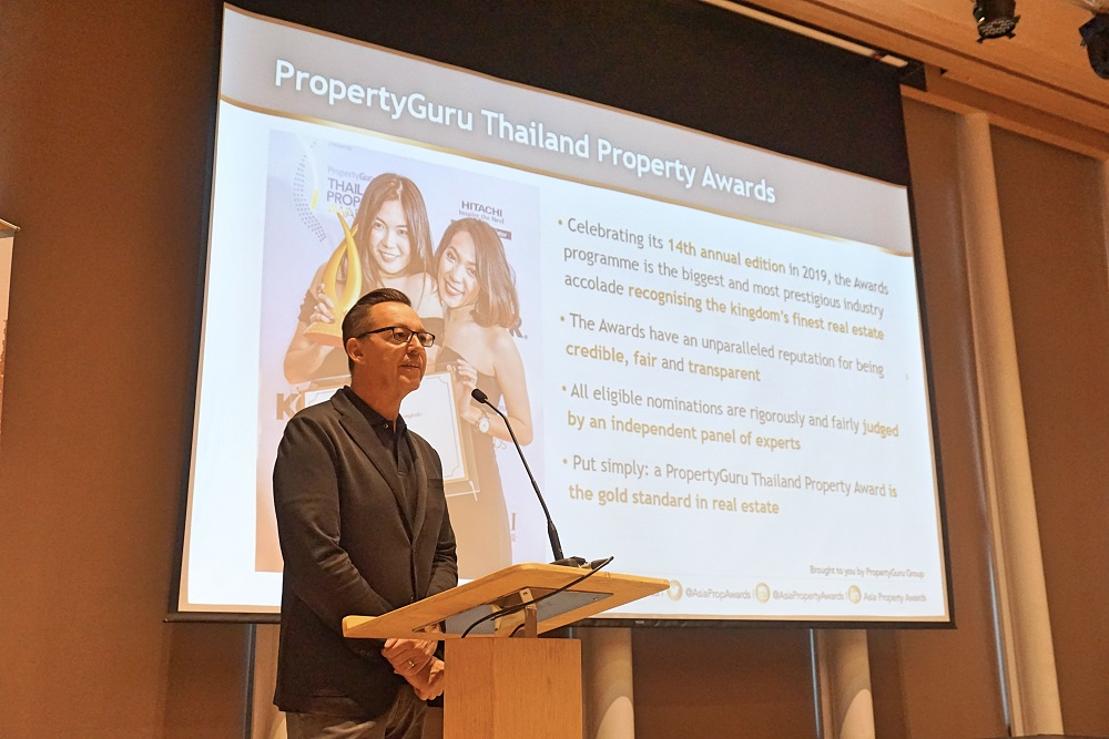 Jules Kay, director of the PropertyGuru Asia Property Awards, speaks at a press briefing Tuesday on nominations to the 2019 Thailand Property Awards at the Gaysorn Urban Resort in Bangkok
