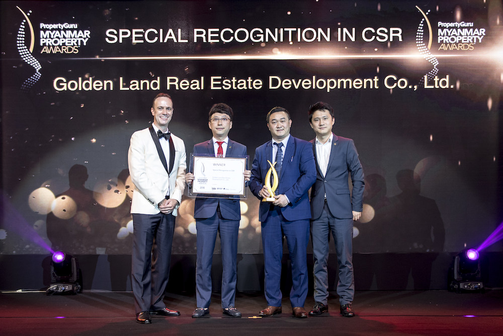 One of the biggest winners of the evening, Golden Land Real Estate Development Co., Ltd., collecting the Special Recognition in CSR from Terry Blackburn, founder and managing director of the PropertyGuru Asia Property Awards