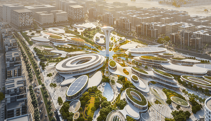 Artists' render of The Central Hub, Aljada, Sharjah. Image credit: ARADA