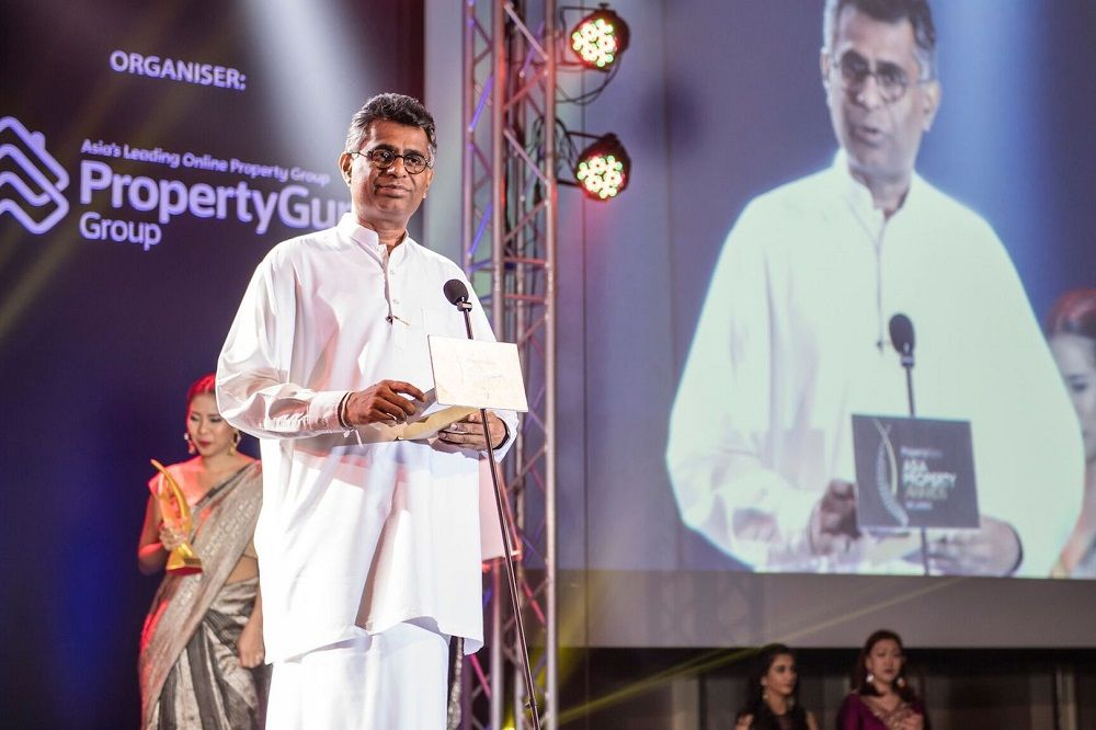 The Megapolis and Western Development Minister Patali Champika Ranawaka delivering a keynote address at the 2018 PropertyGuru Asia Property Awards (Sri Lanka)