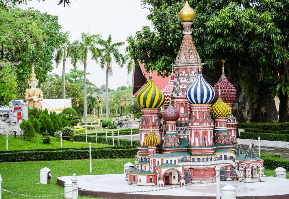 A miniature replica of St. Basil's cathedral in Moscow at a park in Pattaya, Thailand. ArliftAtoz2205/Shutterstock