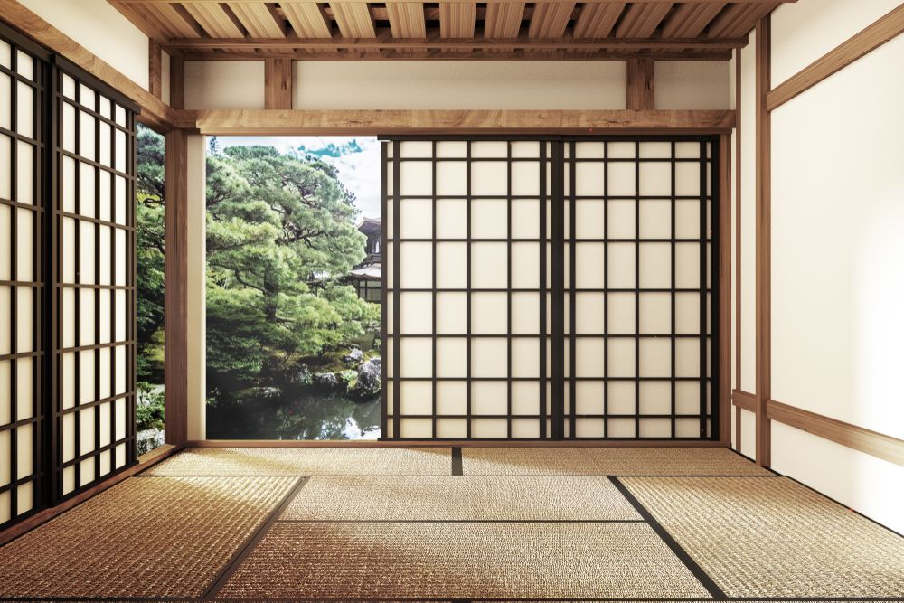A traditional Japanese home with tatami mats. Interior Blender 3D/Shutterstock