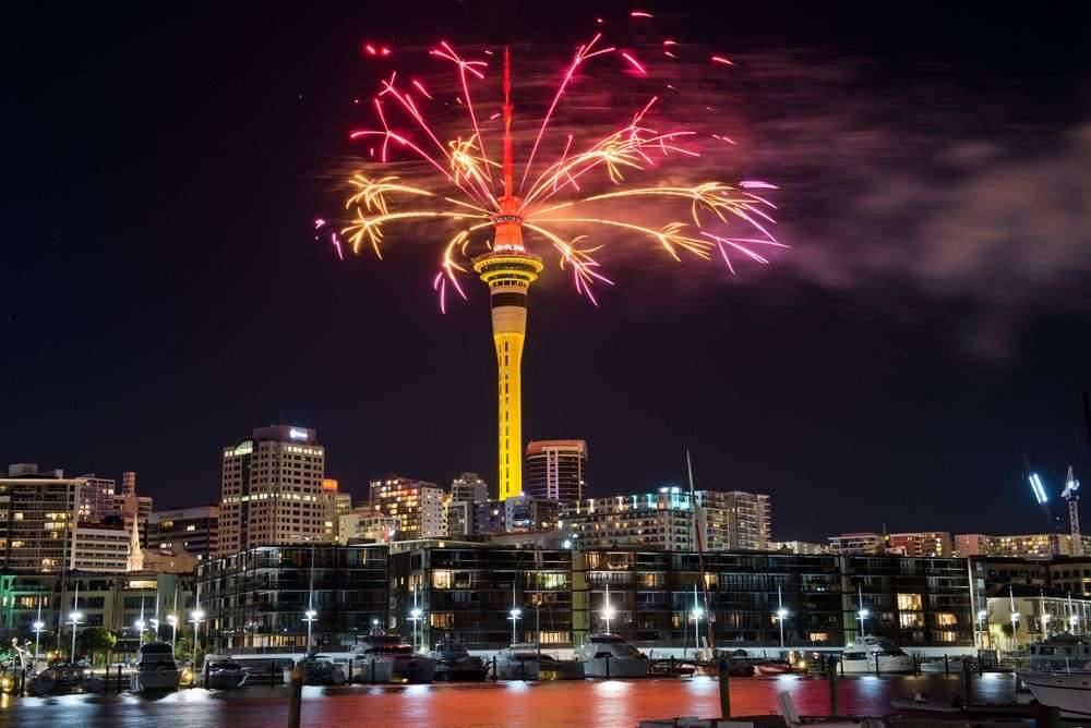 Firework display atop the Auckland Sky Tower to celebrate the Chinese New Year. Shaun Jeffers/Shutterstock