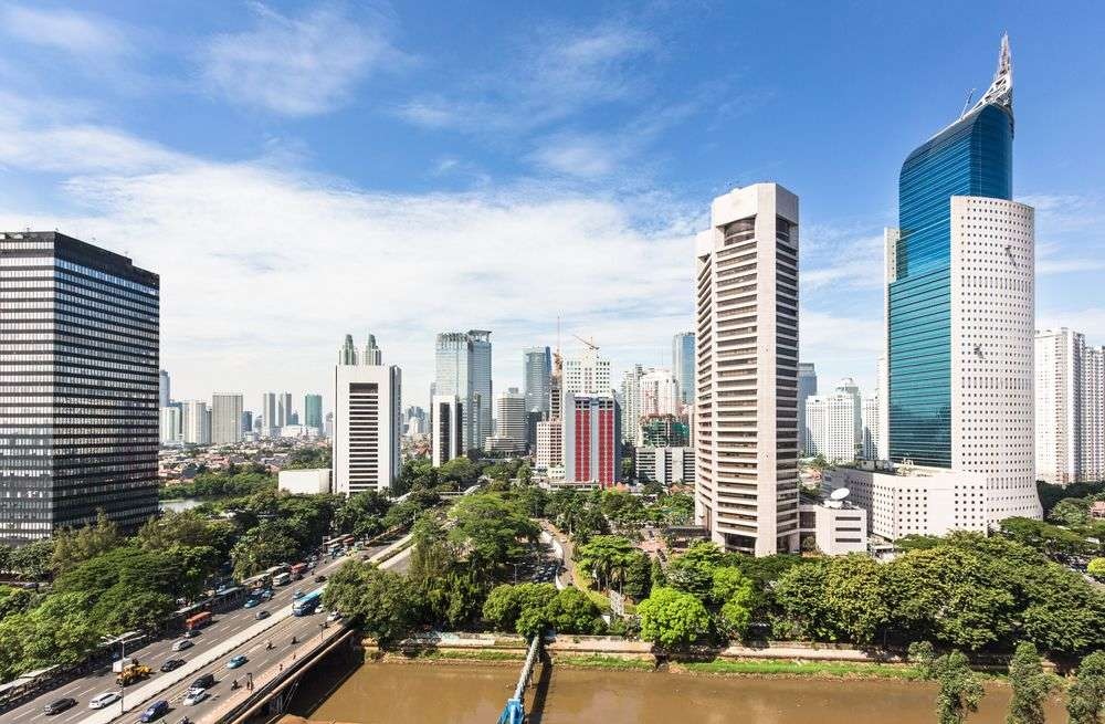 Jalan Sudirman, a major thoroughfare in Jakarta, is lined with office towers. AsiaTravel/Shutterstock