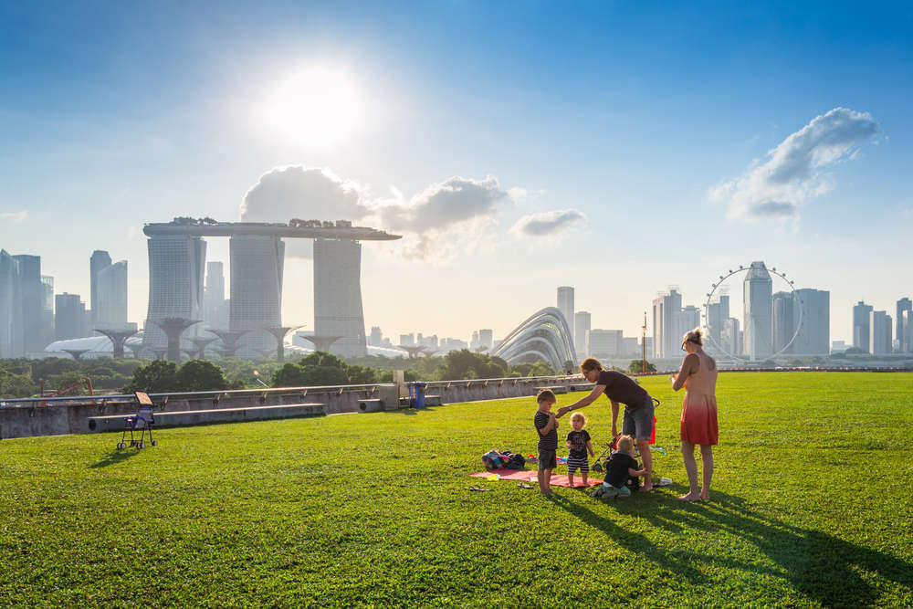 The Singapore skyline as seen from the Marina Barrage. Ariyaphol Jiwalak/Shutterstock