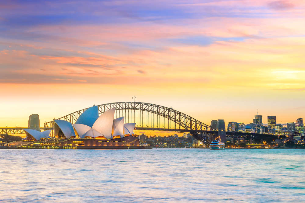 Downtown Sydney skyline in Australia at twilight. Sydney. f11photo/Shutterstock