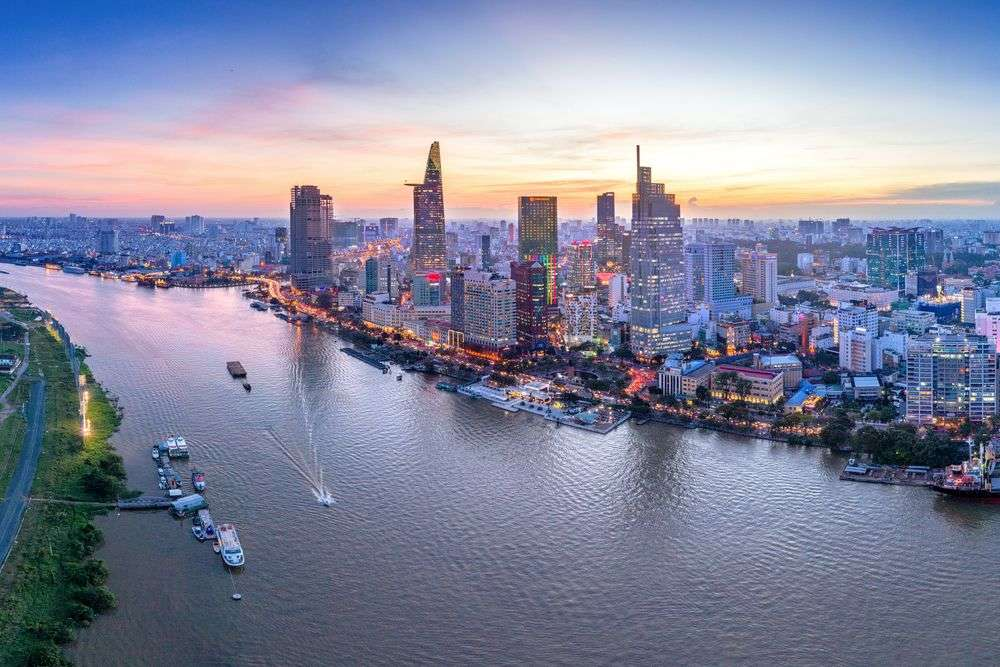 Aerial view of Ho Chi Minh City, Vietnam. Tonkinphotography/Shutterstock