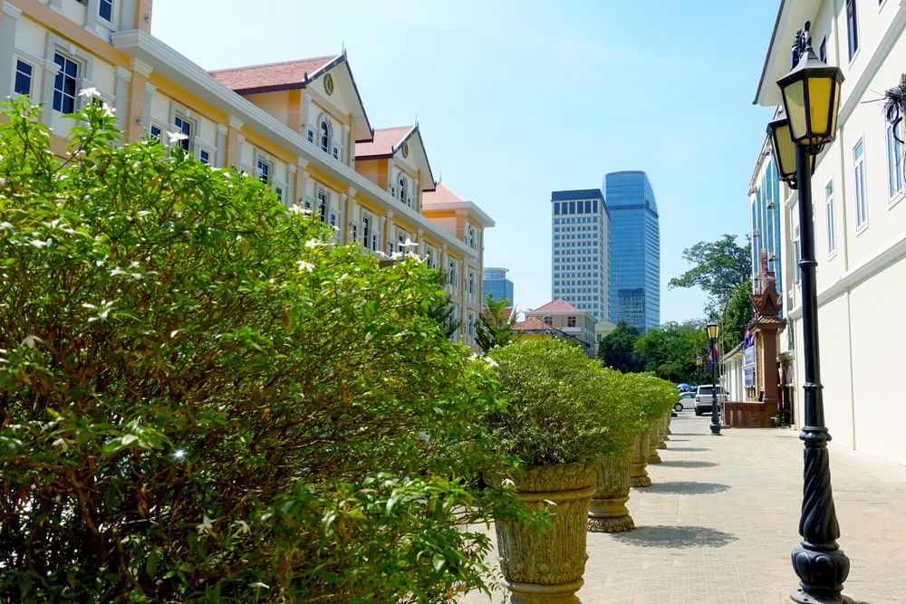 The ever-evolving cityscape in Phnom Penh is these days as likely to feature high-end housing developments and skyscrapers as characterful markets and traditional shophouses. Bun Thy/Shutterstock